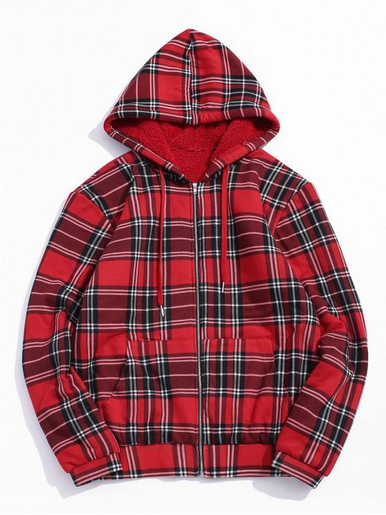 affordable ZAFUL Plaid Print Plush Zip Up Hoodie - RED XL