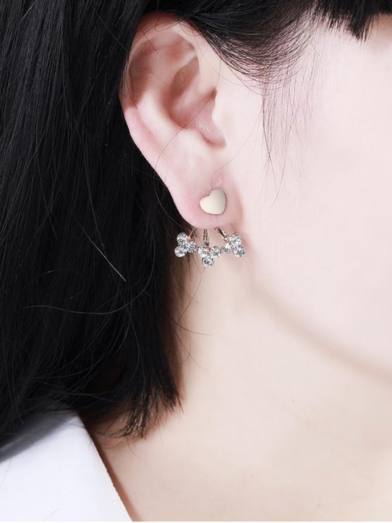 fancy Rhinestone Stud Heart Earrings - GOLD