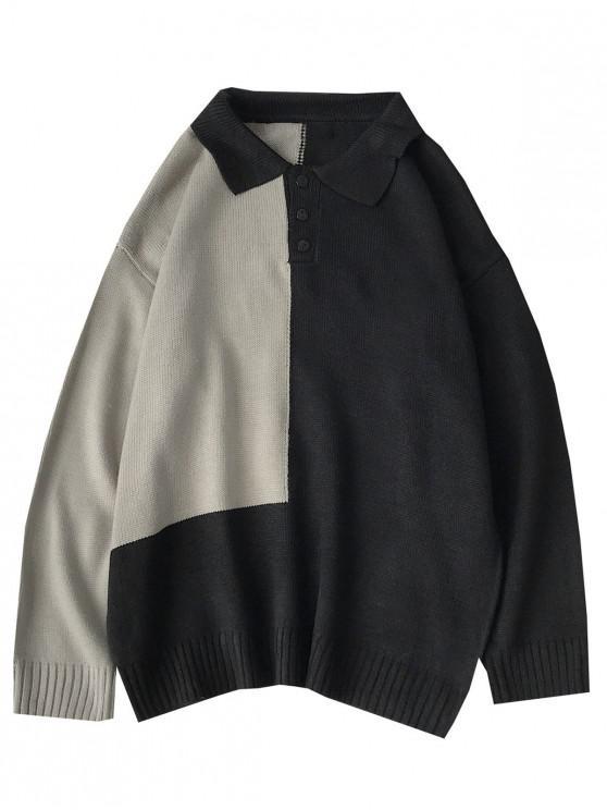 fashion Colorblock Panel Half Button Sweater - BLACK M