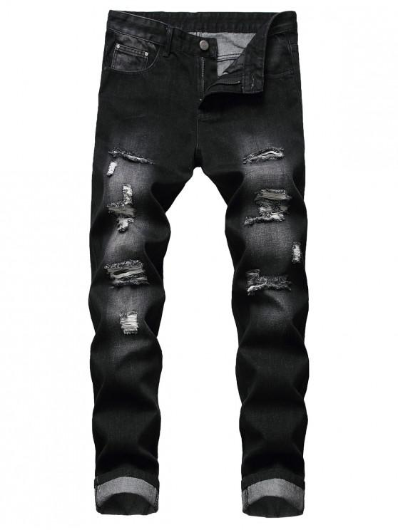 latest Distressed Ripped Long Zip Fly Denim Pants - BLACK 38