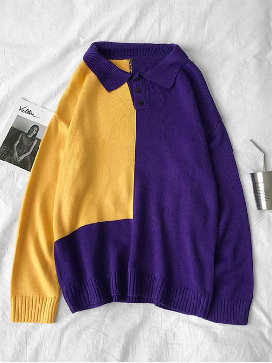fashion Colorblock Panel Half Button Sweater - PURPLE M