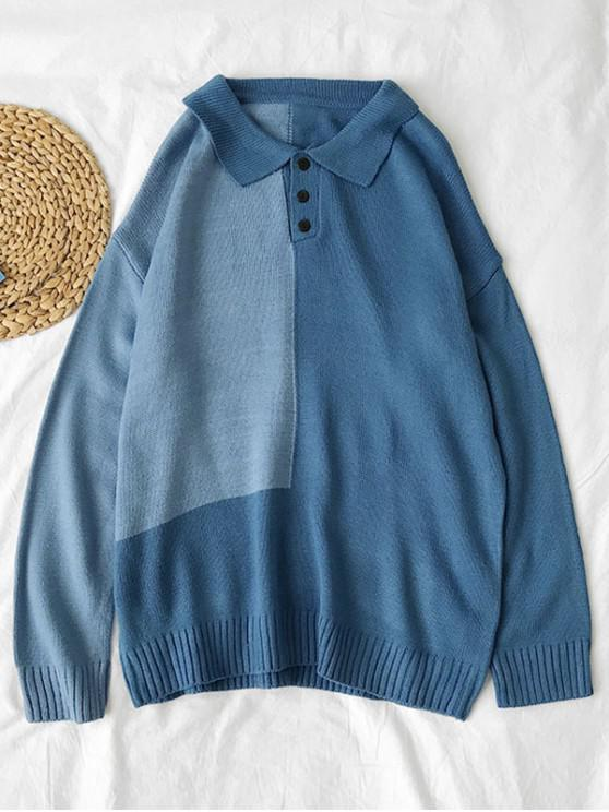 women Colorblock Panel Half Button Sweater - BLUE M