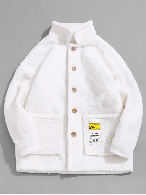 shop Letter Pocket Decorated Button Fluffy Jacket - WARM WHITE L