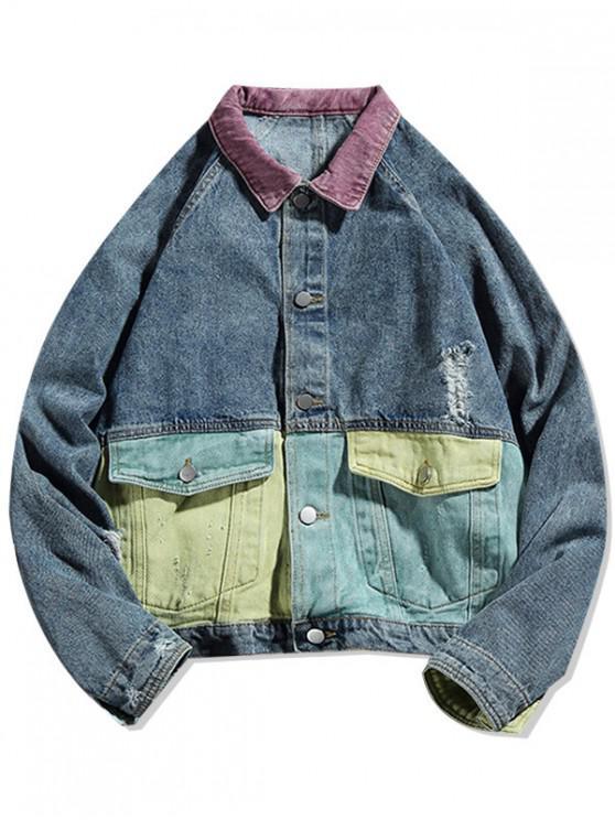 latest Colorblock Spliced Raglan Sleeve Ripped Jean Jackets - BLUE 2XL