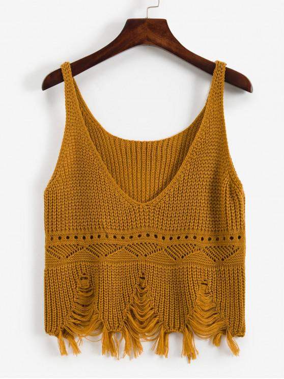 lady Frayed Ripped Pointelle Knit Plunge Tank Top - TIGER ORANGE ONE SIZE