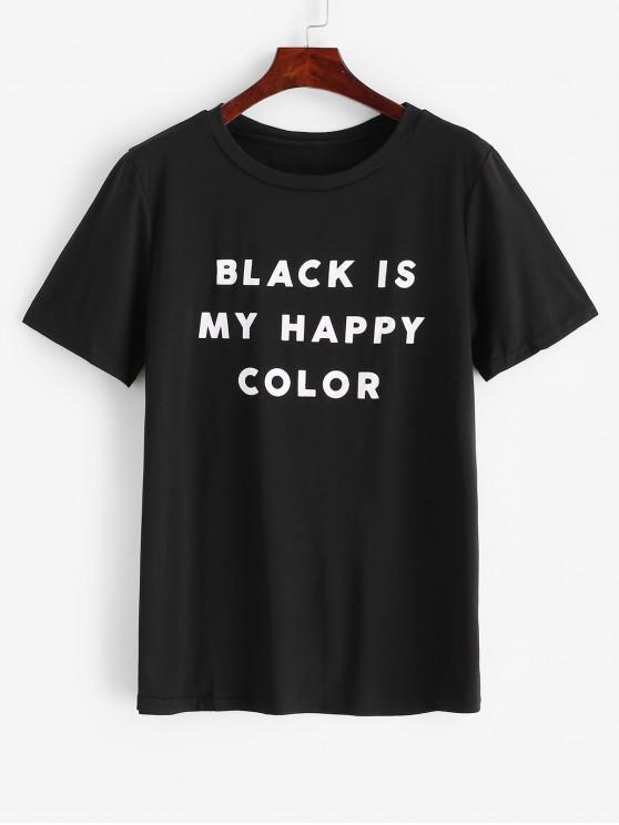 T-shirt Décontracté Lettre Imprimée à Col Rond - Noir M