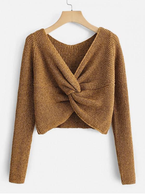 womens Heathered V Neck Twist Front Jumper Sweater - ORANGE GOLD S