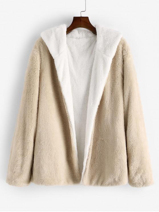 shop ZAFUL Faux Fur Fluffy Hooded Open Front Jacket - PEACH 2XL