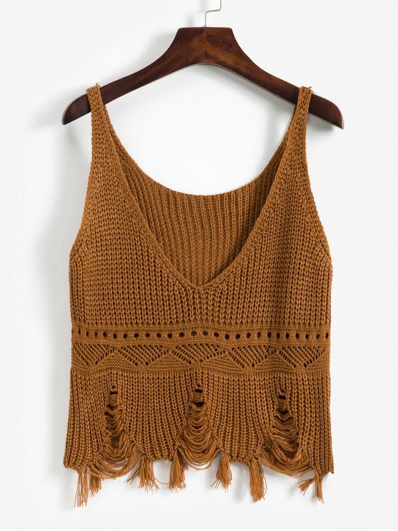 unique Frayed Ripped Pointelle Knit Plunge Tank Top - BROWN ONE SIZE