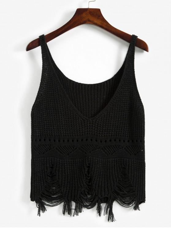 buy Frayed Ripped Pointelle Knit Plunge Tank Top - BLACK ONE SIZE