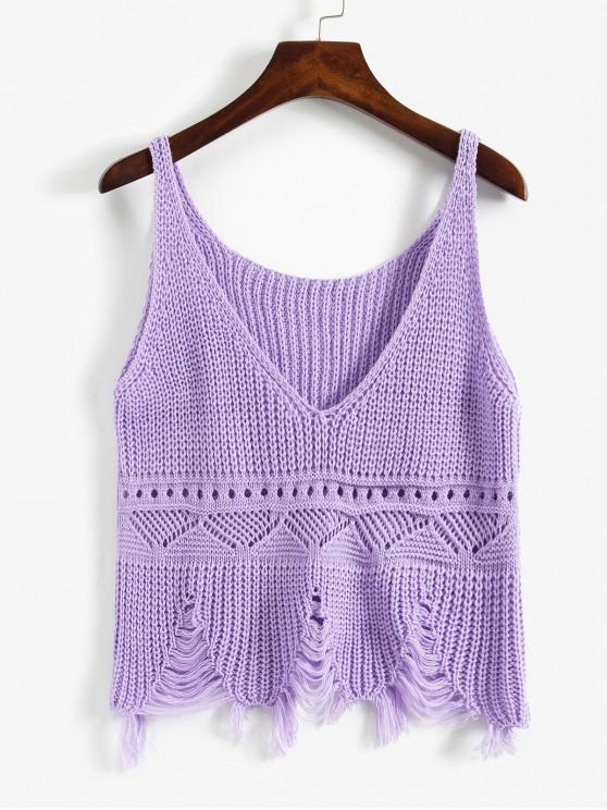 磨破撕開Pointelle針織切入背心 - 紫色 One Size
