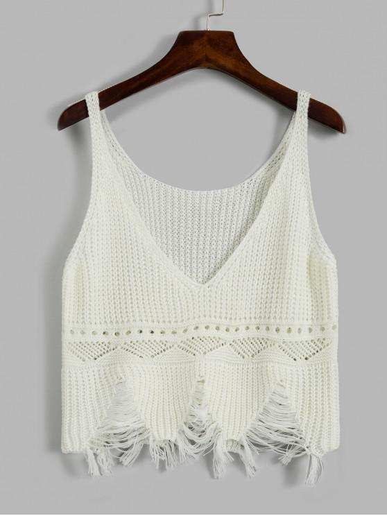 hot Frayed Ripped Pointelle Knit Plunge Tank Top - WHITE ONE SIZE