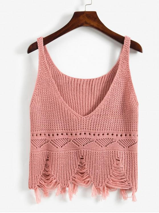 outfits Frayed Ripped Pointelle Knit Plunge Tank Top - PINK ONE SIZE