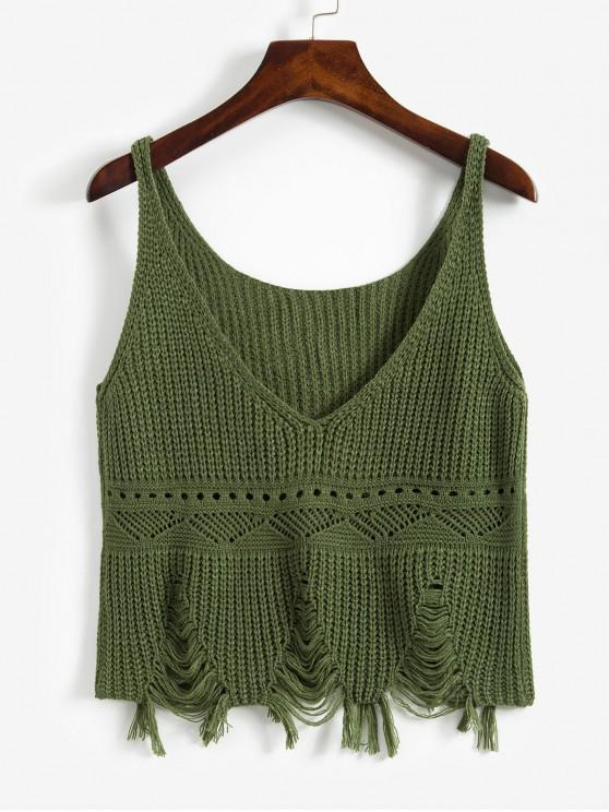 shop Frayed Ripped Pointelle Knit Plunge Tank Top - DARK GREEN ONE SIZE