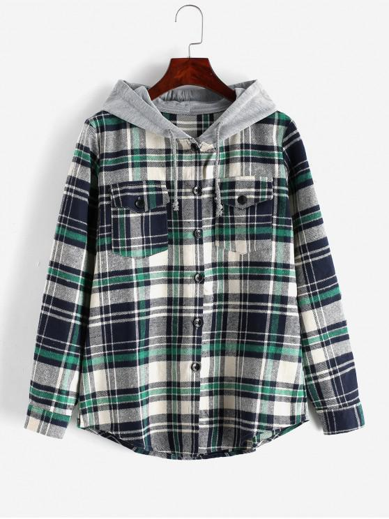 hot Button Up Plaid Hooded Blouse - GREEN XL