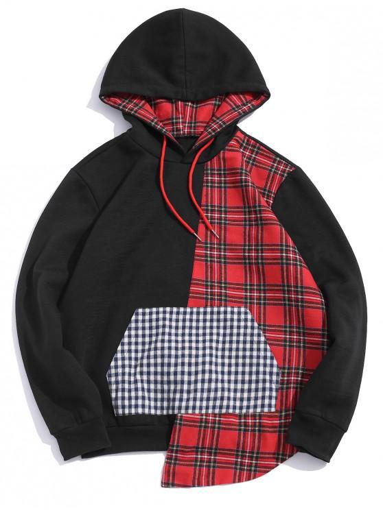 shops Plaid Pattern Kangaroo Pocket Hoodie - BLACK XL