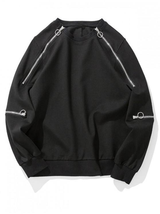 womens Solid Color Zipper Decoration Sweatshirt - BLACK 2XL