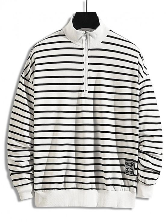 women Striped Pattern Quarter Zipper Casual Sweatshirt - WHITE M