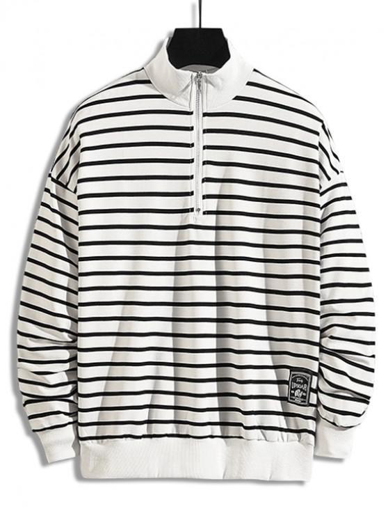 lady Striped Pattern Quarter Zipper Casual Sweatshirt - WHITE 2XL