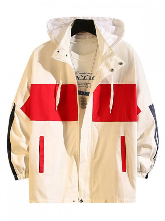 outfit Colorblock Splicing Letter Print Casual Hooded Jacket - WHITE 2XL
