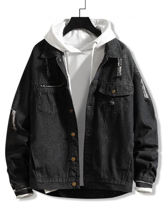 best Fringed Ripped Chest Pocket Jean Jacket - BLACK 2XL