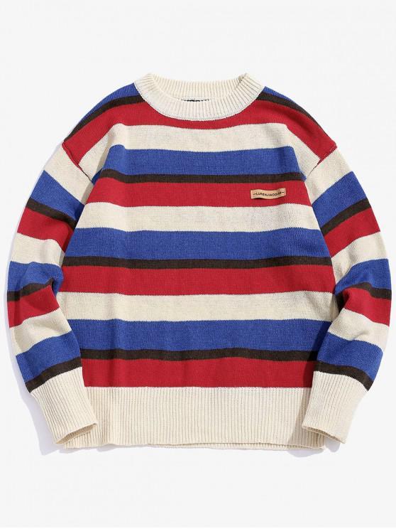 fancy Color-blocking Striped Drop Shoulder Sweater - MULTI-A L