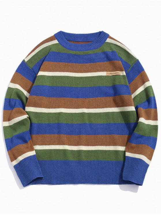 Color-blocare Striped picătură umăr pulover - Multi-B 2XL
