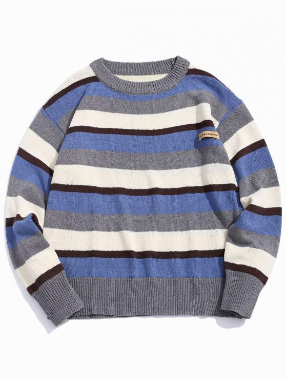 Color-blocare Striped picătură umăr pulover - Multi-C 2XL
