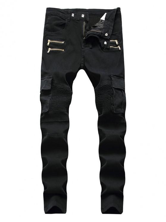 online Zipper Pleats Spliced Pocket Casual Jeans - BLACK 32