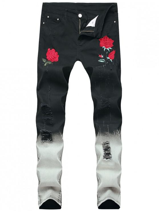 buy Rose Embroidered Zip Fly Ripped Jeans - BLACK 32