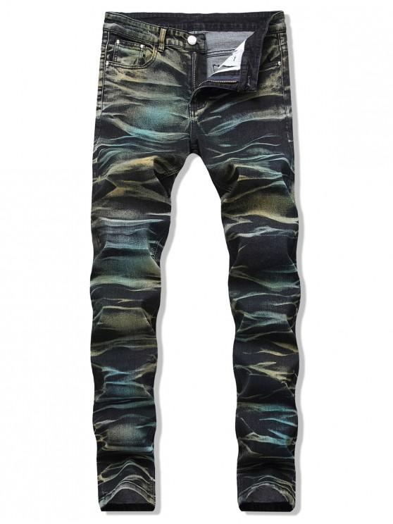 new Colorful Printed Zipper Fly Casual Jeans - MULTI 38