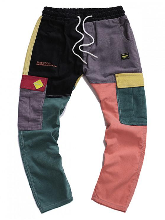 outfits Letter Embroidered Color Spliced Casual Pants - MULTI S