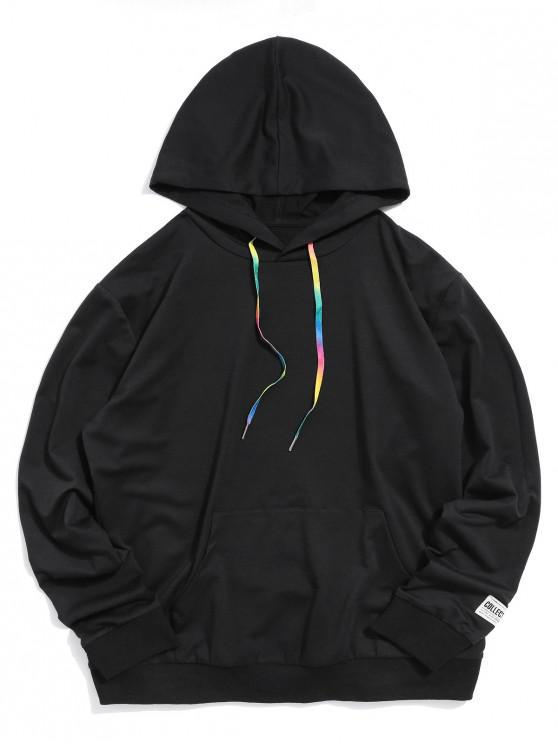 new ZAFUL Solid Color Kangaroo Pocket Hoodie - BLACK L