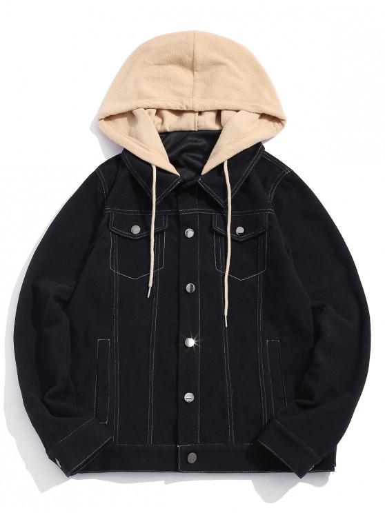 trendy ZAFUL Color Spliced Button Design Hooded Jacket - BLACK 2XL