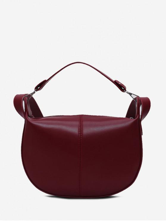 sale Saddle Shape Solid Simple Shoulder Bag - RED WINE