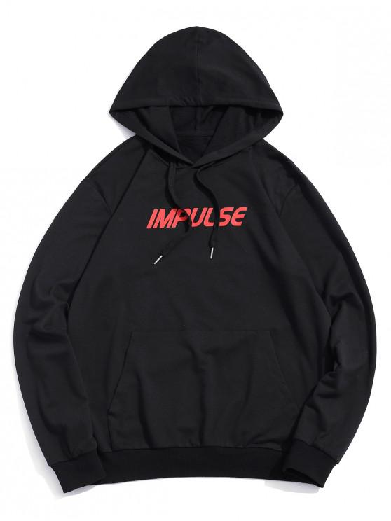 shop ZAFUL Impulse Chinese Letter Print Drawstring Hoodie - BLACK S