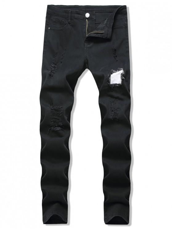 Patchworks Verziert Zerrissene Lässige Jeans - Schwarz 40