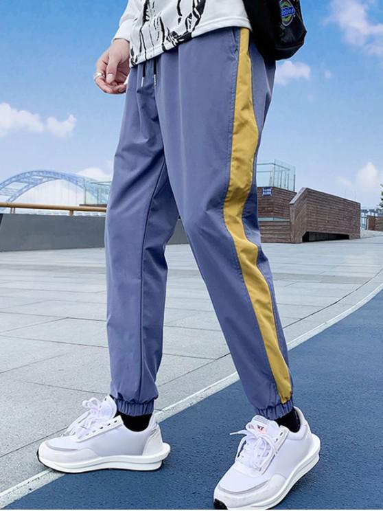 Pantaloni de culoare matisate pentru petrecerea timpului liber jogger - Albastru de mătase 2XL