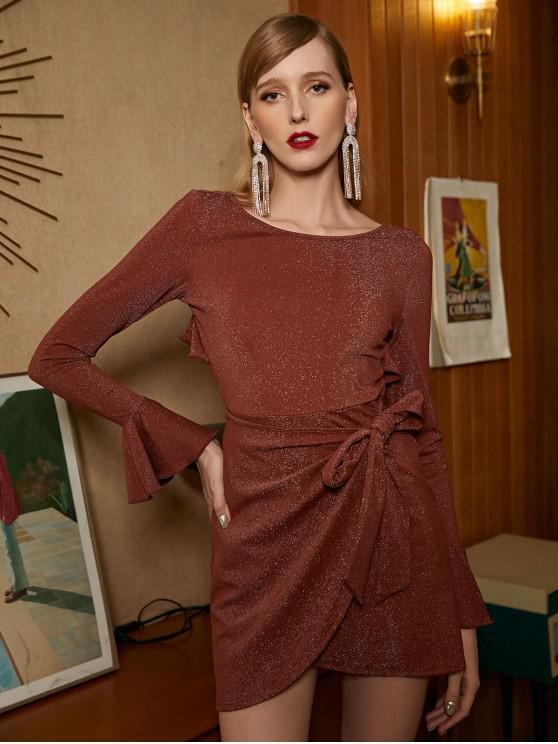 women's ZAFUL Metallic Shiny Overlap Ruffles Flare Sleeve Dress - LIGHT BROWN XL