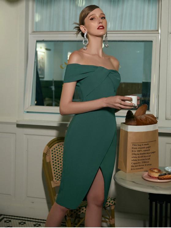 affordable ZAFUL Off Shoulder Twist Overlap Solid Party Dress - LIGHT SEA GREEN M