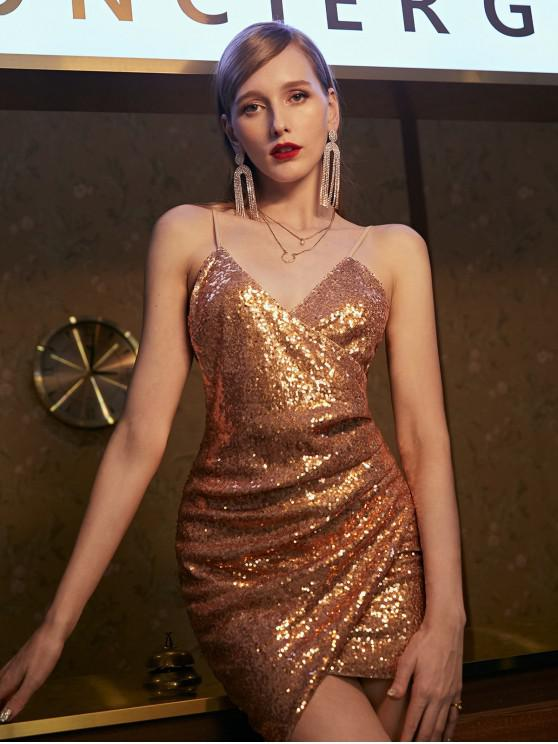 ZAFUL Pailletten Drapierte Cami Mini Party kleid - Champagner Gold S