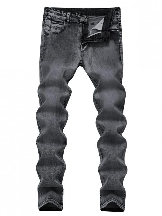 affordable Zip Fly Long Straight Denim Pants - DENIM DARK BLUE 42