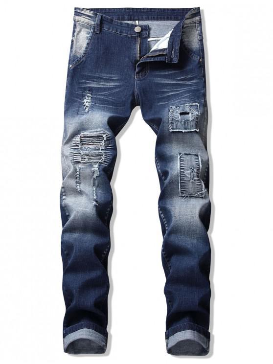 online Patchworks Drape Panel Decorated Jeans - DEEP BLUE 34