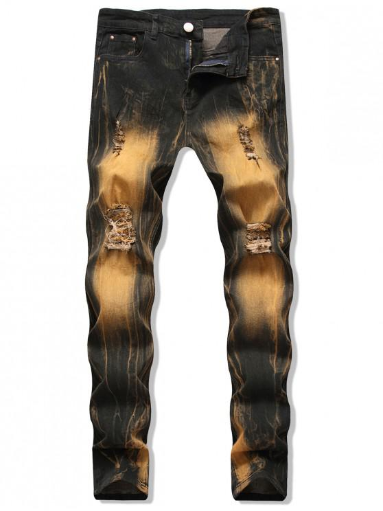 shop Casual Printed Ripped Design Jeans - BRONZE 34