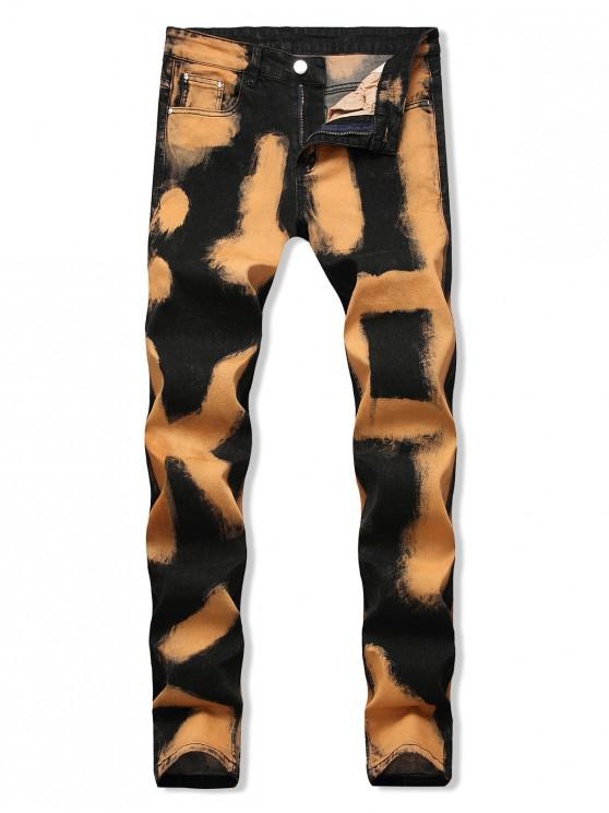 unique Colorful Printed Zip Fly Casual Jeans - ORANGE GOLD 38