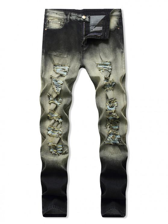 fashion Vintage Distressed Decorated Zip Fly Jeans - ARMY BROWN 36