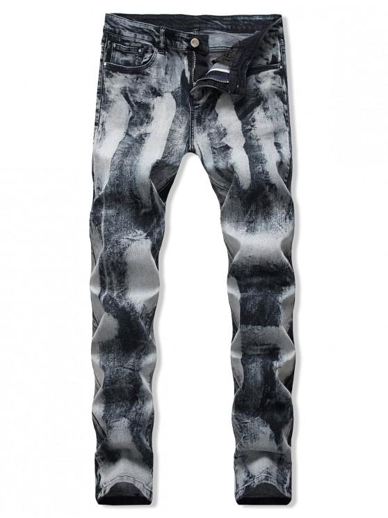 women's Vintage Printed Zip Fly Casual Jeans - SILVER 34