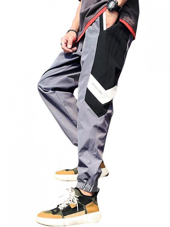 shops Color Blocking Letter Pattern Jogger Pants - GRAY CLOUD S