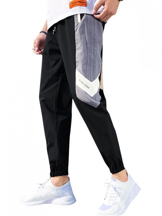 trendy Color Blocking Letter Pattern Jogger Pants - BLACK XS