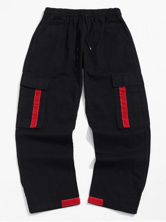 Culoare Blocarea Pocket Decorate pantaloni casual - Noapte XL